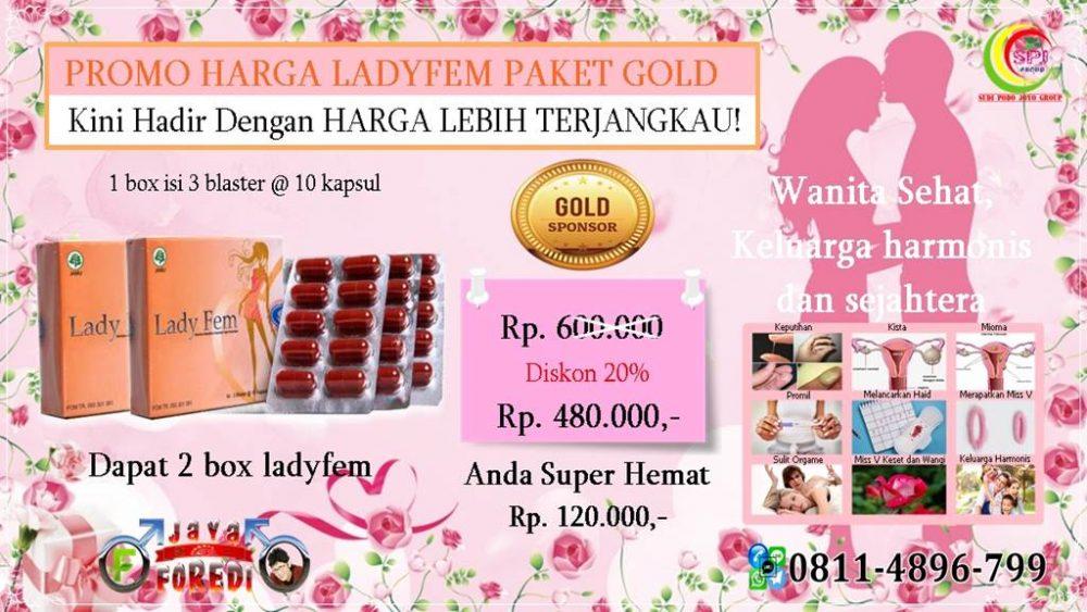 harga ladyfem paket Gold rp 480.000 untuk 2 box ladyfem anda hemat rp 120.000