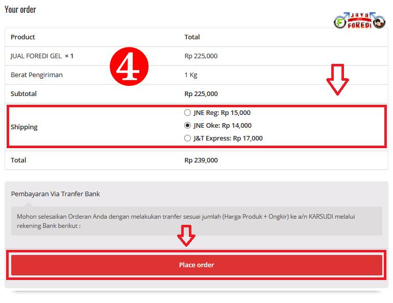 Cara Belanja Di Foredijaya.com dengan cara memilih metode pembayaran dan jasa pengiriman produknya