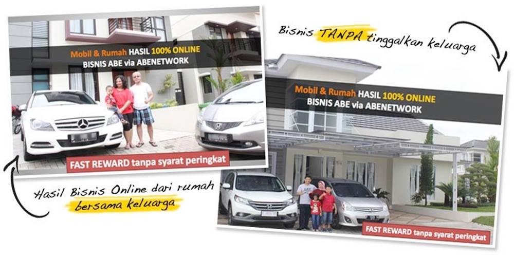 Hasil bisnis ABE secara online di rumah bersama keluarga