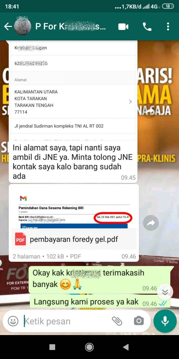Orderan Pelanggan Abe dari Tarakan Kalimantan Tengah